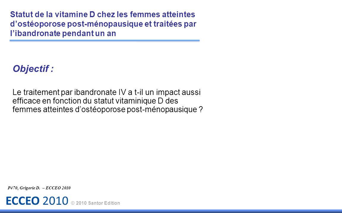 ECCEO 2010 © 2010 Santor Edition Objectif : Le traitement par ibandronate IV a t-il un impact aussi efficace en fonction du statut vitaminique D des f