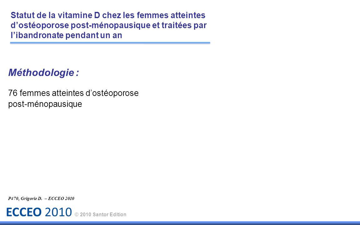 ECCEO 2010 © 2010 Santor Edition P470, Grigorie D. – ECCEO 2010 Statut de la vitamine D chez les femmes atteintes dostéoporose post-ménopausique et tr