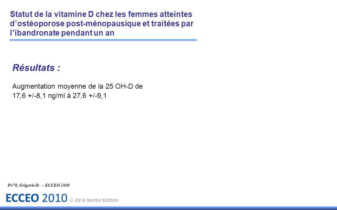 ECCEO 2010 © 2010 Santor Edition Résultats : Augmentation moyenne de la 25 OH-D de 17,6 +/-8,1 ng/ml à 27,6 +/-9,1 P470, Grigorie D. – ECCEO 2010 Stat