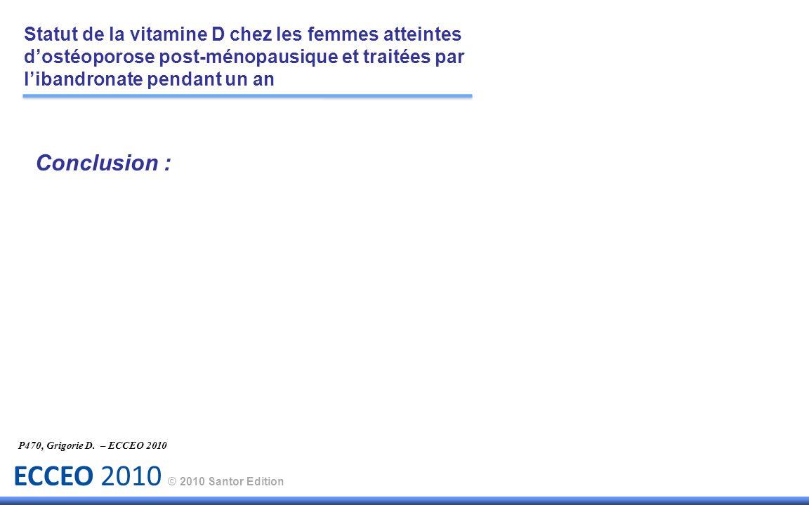 ECCEO 2010 © 2010 Santor Edition Conclusion : P470, Grigorie D. – ECCEO 2010 Statut de la vitamine D chez les femmes atteintes dostéoporose post-ménop