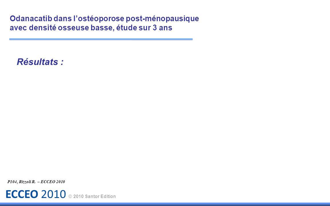 ECCEO 2010 © 2010 Santor Edition Résultats : P104, Rizzoli R. – ECCEO 2010 Odanacatib dans lostéoporose post-ménopausique avec densité osseuse basse,