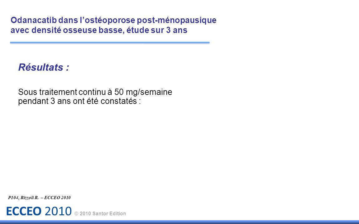 ECCEO 2010 © 2010 Santor Edition Résultats : Sous traitement continu à 50 mg/semaine pendant 3 ans ont été constatés : P104, Rizzoli R. – ECCEO 2010 O