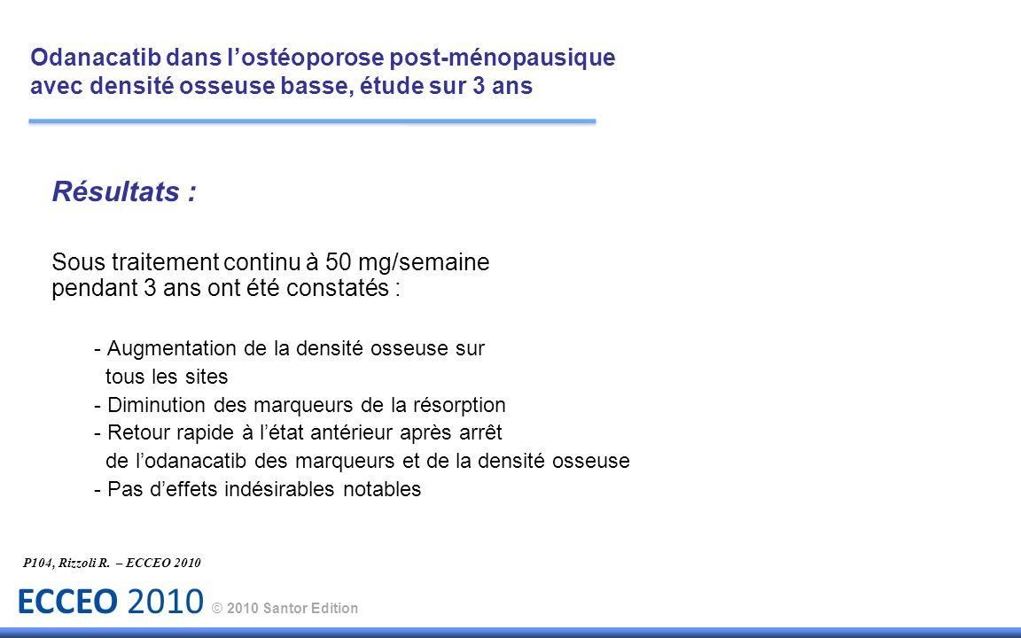 ECCEO 2010 © 2010 Santor Edition Résultats : Sous traitement continu à 50 mg/semaine pendant 3 ans ont été constatés : - Augmentation de la densité os