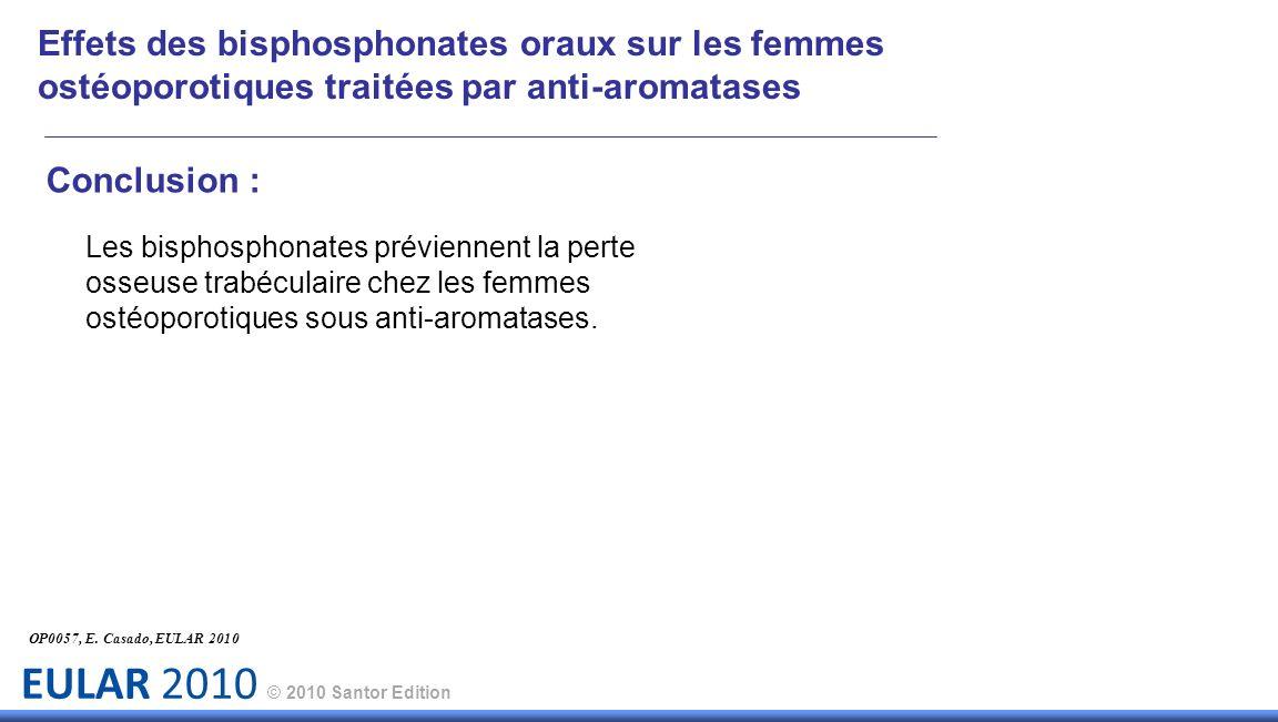 EULAR 2010 © 2010 Santor Edition Effets des bisphosphonates oraux sur les femmes ostéoporotiques traitées par anti-aromatases Conclusion : Les bisphos