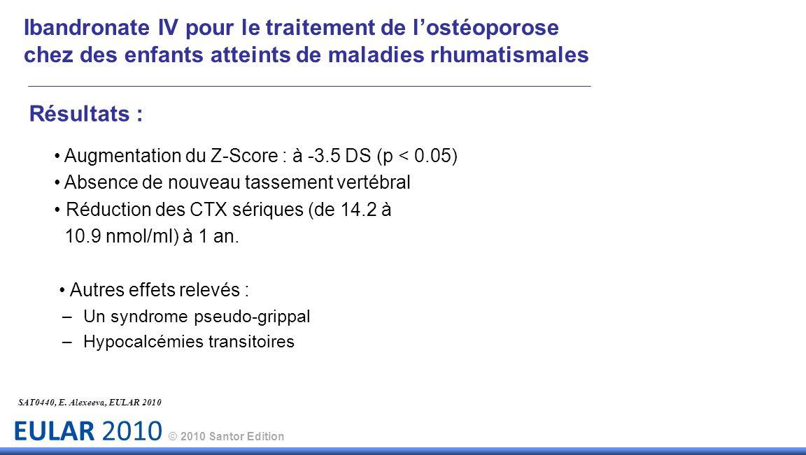 EULAR 2010 © 2010 Santor Edition Résultats : Augmentation du Z-Score : à -3.5 DS (p < 0.05) Absence de nouveau tassement vertébral Réduction des CTX s
