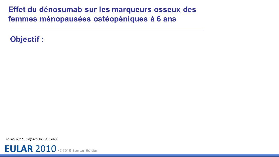 EULAR 2010 © 2010 Santor Edition Objectif : OP0279, R.B. Wagman, EULAR 2010 Effet du dénosumab sur les marqueurs osseux des femmes ménopausées ostéopé