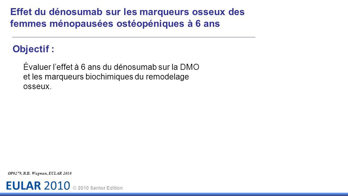 EULAR 2010 © 2010 Santor Edition Objectif : Évaluer leffet à 6 ans du dénosumab sur la DMO et les marqueurs biochimiques du remodelage osseux. OP0279,