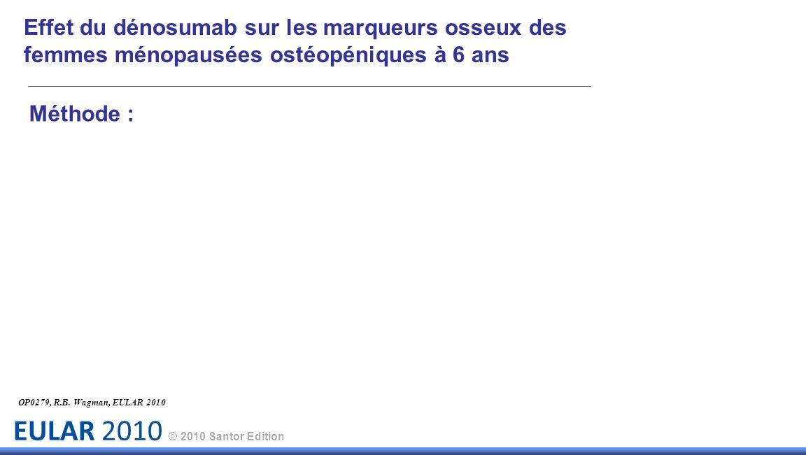 EULAR 2010 © 2010 Santor Edition Méthode : OP0279, R.B. Wagman, EULAR 2010 Effet du dénosumab sur les marqueurs osseux des femmes ménopausées ostéopén