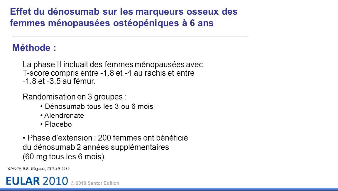 EULAR 2010 © 2010 Santor Edition Méthode : La phase II incluait des femmes ménopausées avec T-score compris entre -1.8 et -4 au rachis et entre -1.8 e