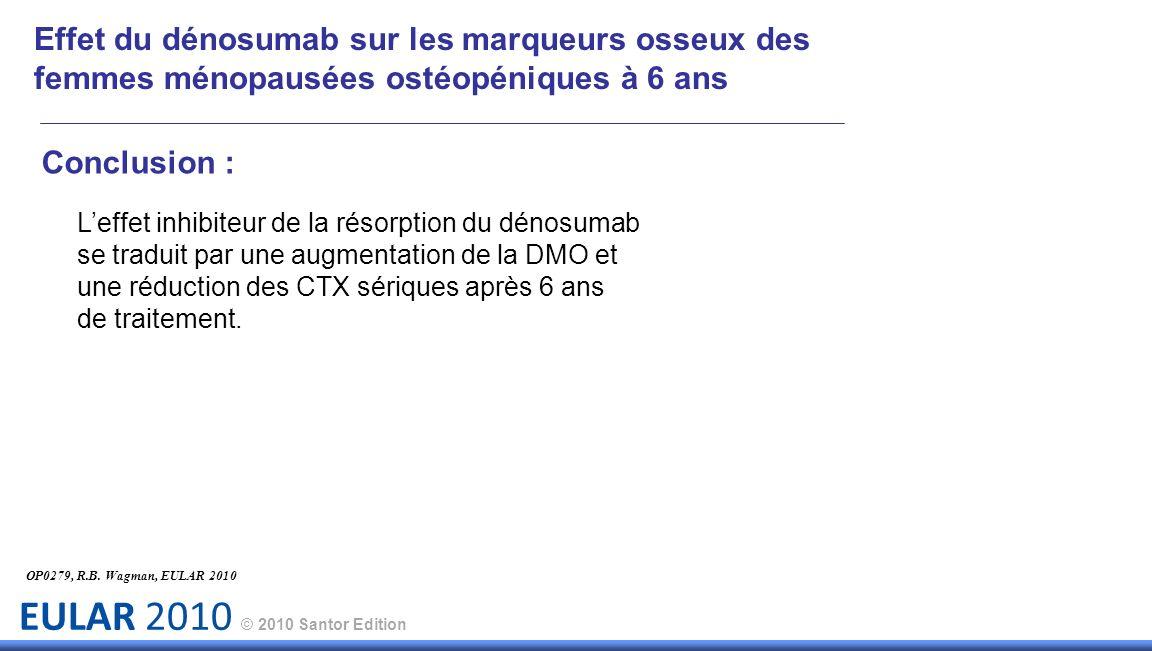 EULAR 2010 © 2010 Santor Edition Conclusion : Leffet inhibiteur de la résorption du dénosumab se traduit par une augmentation de la DMO et une réducti