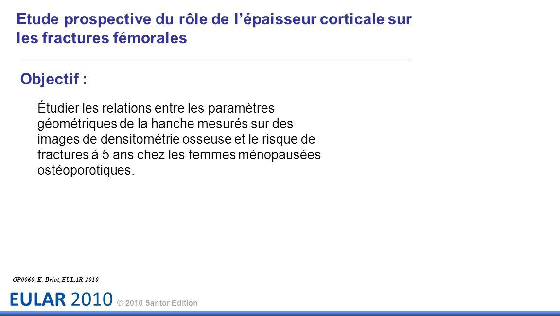 EULAR 2010 © 2010 Santor Edition Objectif : Étudier les relations entre les paramètres géométriques de la hanche mesurés sur des images de densitométr