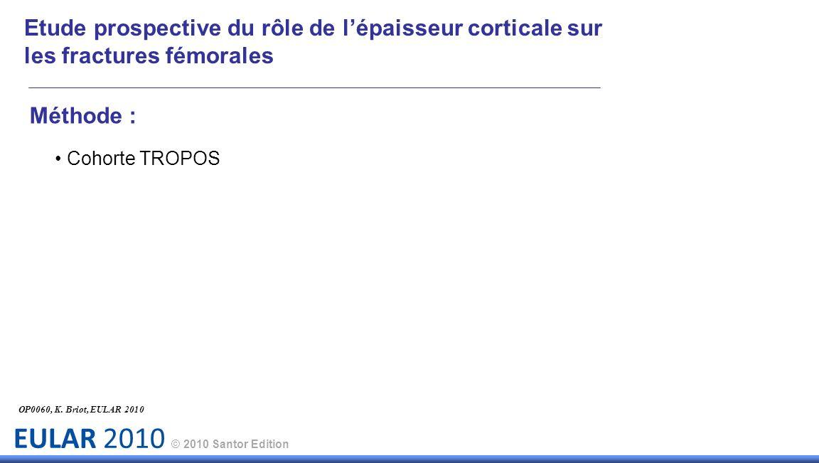 EULAR 2010 © 2010 Santor Edition Méthode : Cohorte TROPOS OP0060, K. Briot, EULAR 2010 Etude prospective du rôle de lépaisseur corticale sur les fract