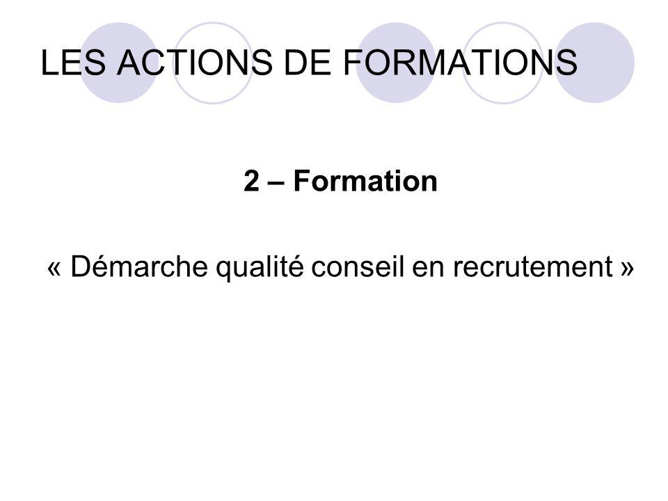 LES ACTIONS DE FORMATIONS 2 – Formation « Démarche qualité conseil en recrutement »