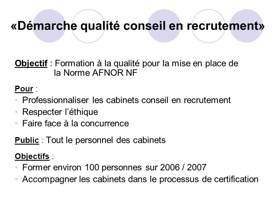 Objectif : Formation à la qualité pour la mise en place de la Norme AFNOR NF Pour : Professionnaliser les cabinets conseil en recrutement Respecter lé