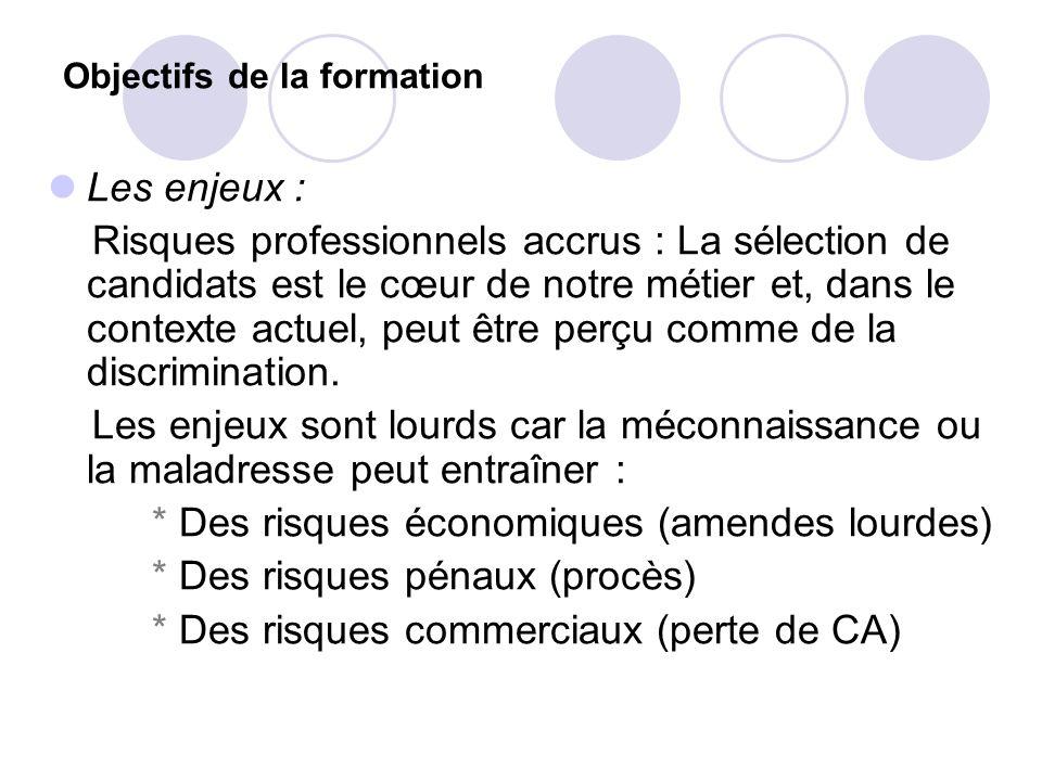 Objectifs de la formation Les enjeux : Risques professionnels accrus : La sélection de candidats est le cœur de notre métier et, dans le contexte actu