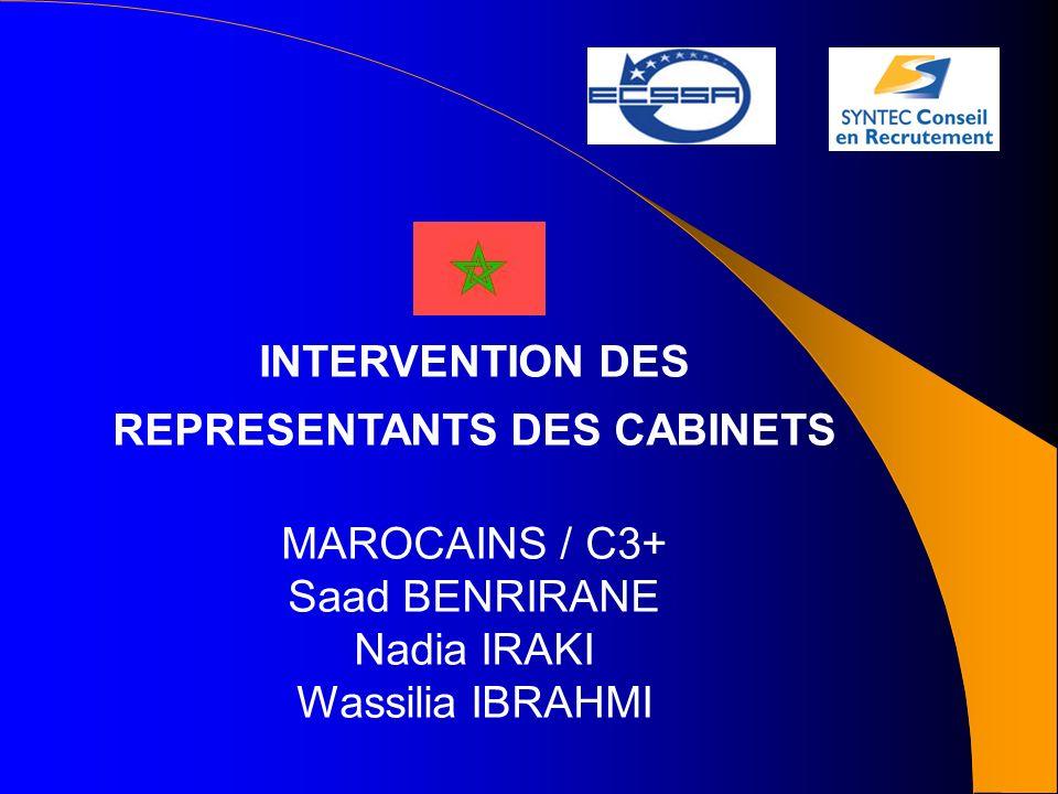 INTERVENTION DES REPRESENTANTS DES CABINETS MAROCAINS / C3+ Saad BENRIRANE Nadia IRAKI Wassilia IBRAHMI