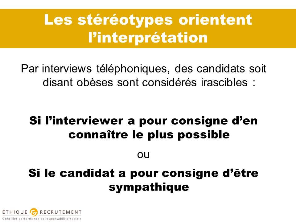 Les stéréotypes orientent linterprétation Par interviews téléphoniques, des candidats soit disant obèses sont considérés irascibles : Si linterviewer