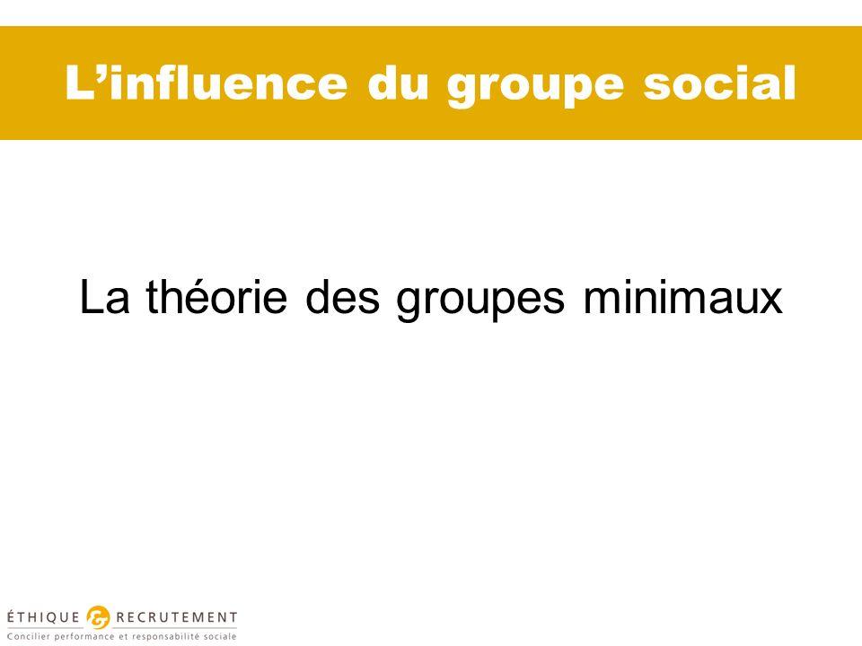 Linfluence du groupe social La théorie des groupes minimaux