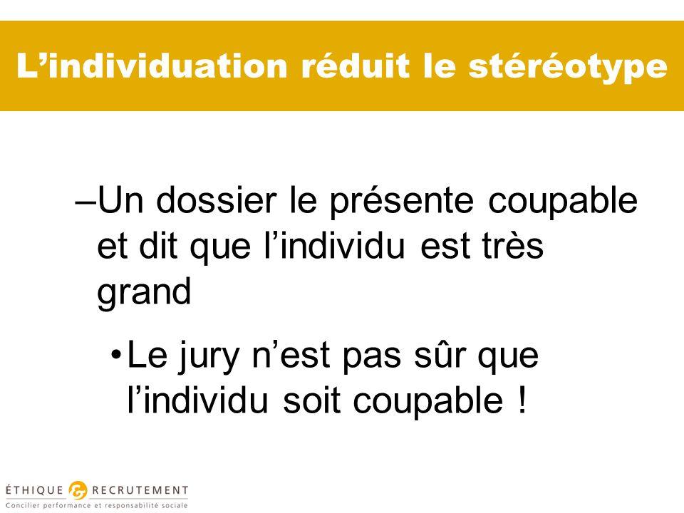 Lindividuation réduit le stéréotype –Un dossier le présente coupable et dit que lindividu est très grand Le jury nest pas sûr que lindividu soit coupable !