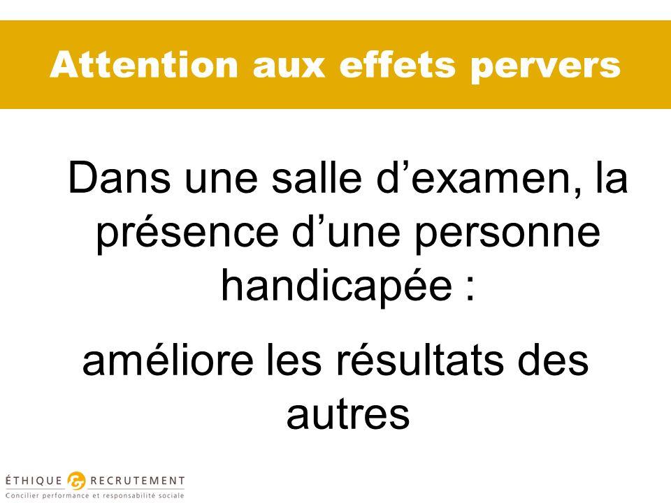 Attention aux effets pervers Dans une salle dexamen, la présence dune personne handicapée : améliore les résultats des autres
