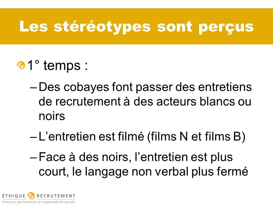 Les stéréotypes sont perçus 1° temps : –Des cobayes font passer des entretiens de recrutement à des acteurs blancs ou noirs –Lentretien est filmé (films N et films B) –Face à des noirs, lentretien est plus court, le langage non verbal plus fermé