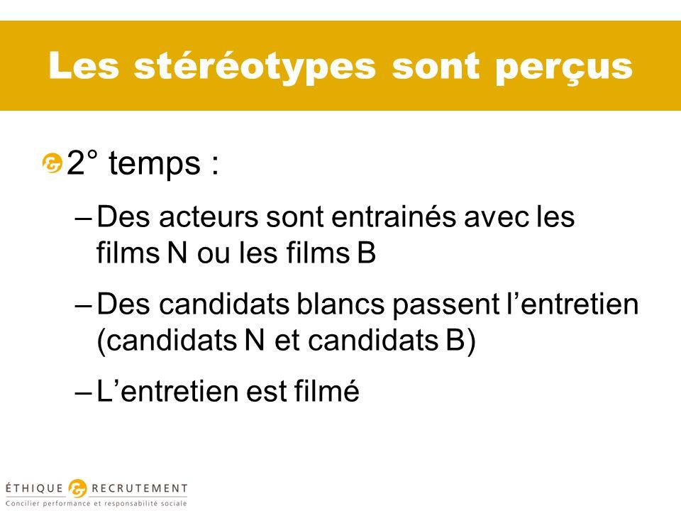 Les stéréotypes sont perçus 2° temps : –Des acteurs sont entrainés avec les films N ou les films B –Des candidats blancs passent lentretien (candidats N et candidats B) –Lentretien est filmé
