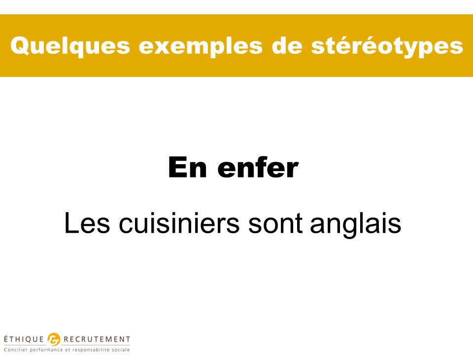 Quelques exemples de stéréotypes En enfer Les cuisiniers sont anglais