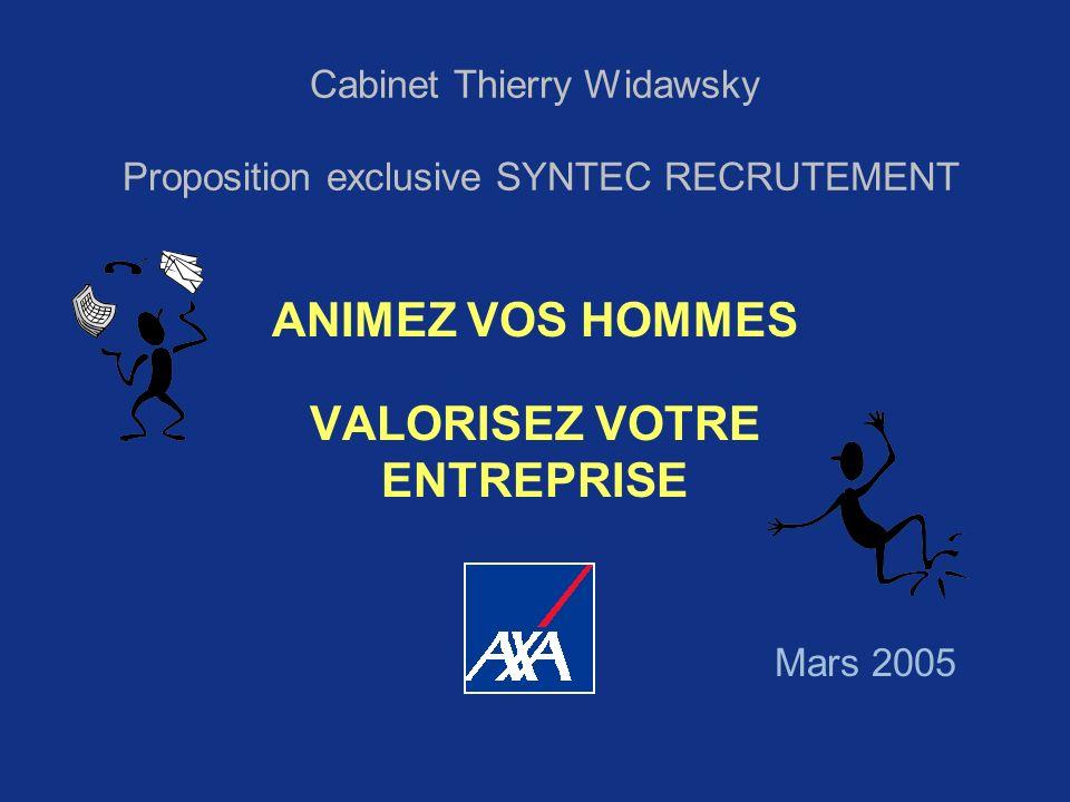 Cabinet Thierry Widawsky Proposition exclusive SYNTEC RECRUTEMENT ANIMEZ VOS HOMMES VALORISEZ VOTRE ENTREPRISE Mars 2005
