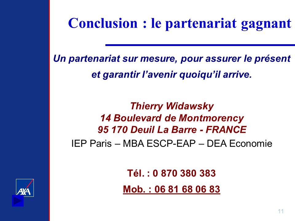 11 Conclusion : le partenariat gagnant Un partenariat sur mesure, pour assurer le présent et garantir lavenir quoiquil arrive. Thierry Widawsky 14 Bou