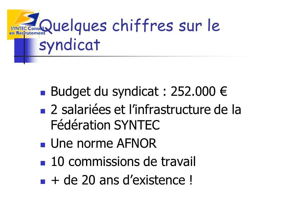 Quelques chiffres sur le syndicat Budget du syndicat : 252.000 2 salariées et linfrastructure de la Fédération SYNTEC Une norme AFNOR 10 commissions d