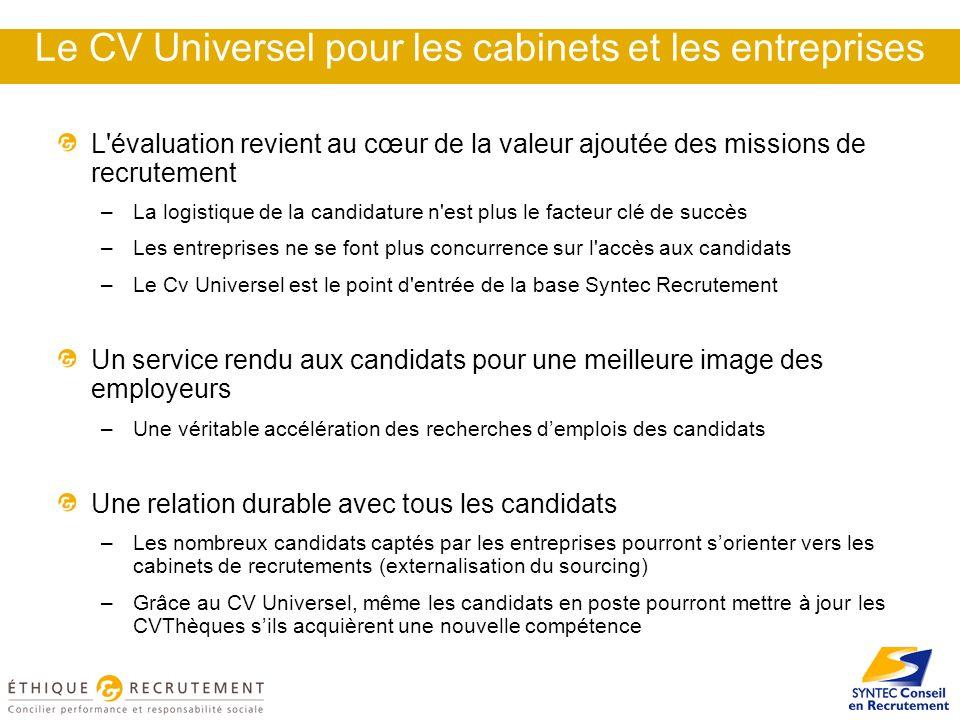 Le CV Universel pour les cabinets et les entreprises L'évaluation revient au cœur de la valeur ajoutée des missions de recrutement –La logistique de l