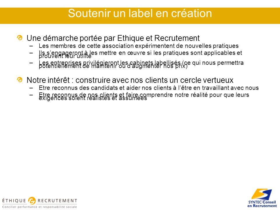 Soutenir un label en création Une démarche portée par Ethique et Recrutement –Les membres de cette association expérimentent de nouvelles pratiques –I