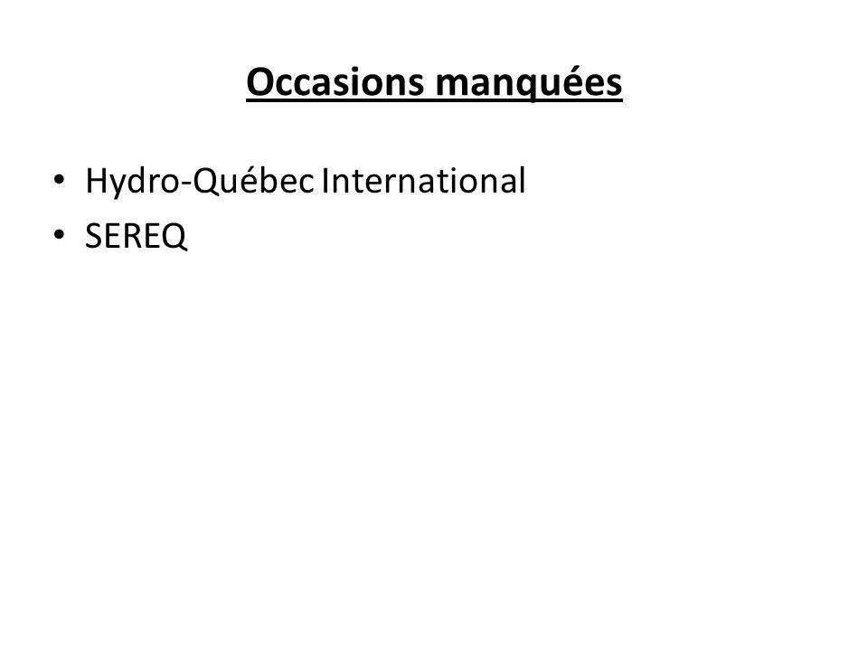 Occasions manquées Hydro-Québec International SEREQ