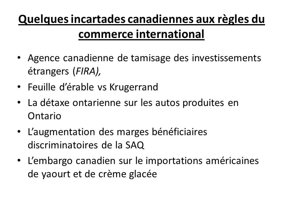 Quelques incartades canadiennes aux règles du commerce international Agence canadienne de tamisage des investissements étrangers (FIRA), Feuille dérab