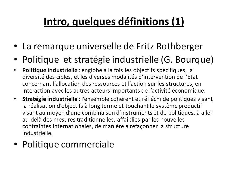 Intro, quelques définitions (1) La remarque universelle de Fritz Rothberger Politique et stratégie industrielle (G. Bourque) Politique industrielle :