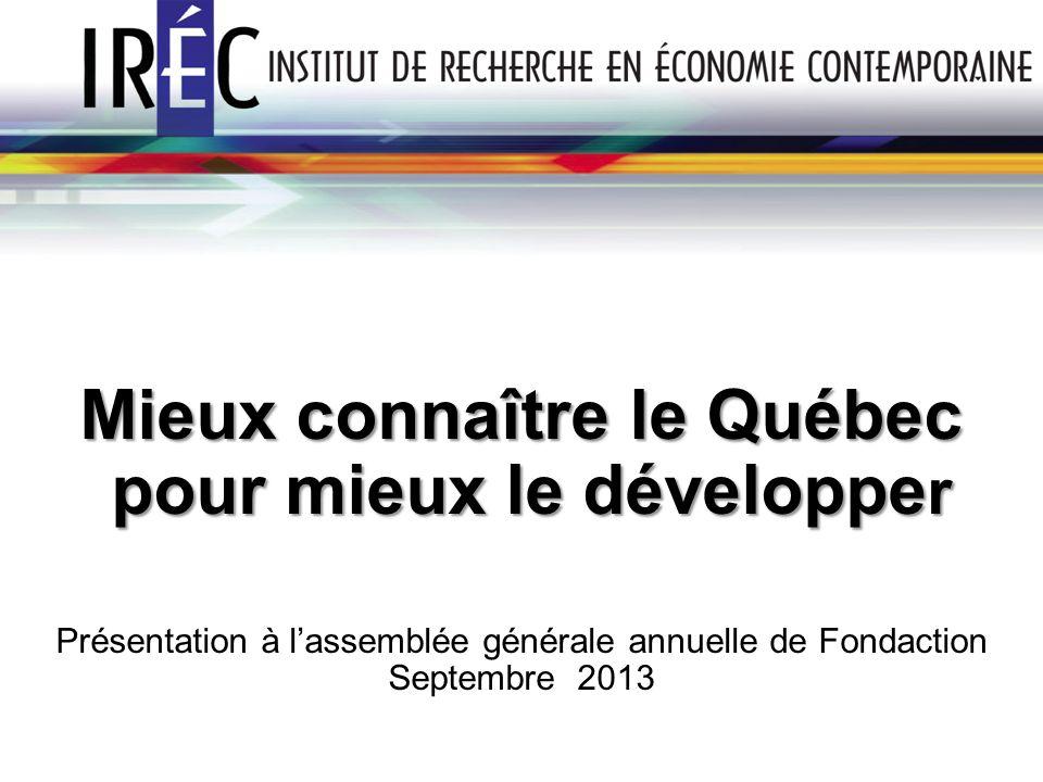 Mieux connaître le Québec pour mieux le développe r pour mieux le développe r Présentation à lassemblée générale annuelle de Fondaction Septembre 2013