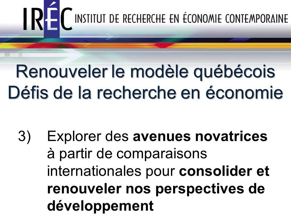 Renouveler le modèle québécois Défis de la recherche en économie 3) Explorer des avenues novatrices à partir de comparaisons internationales pour consolider et renouveler nos perspectives de développement 11