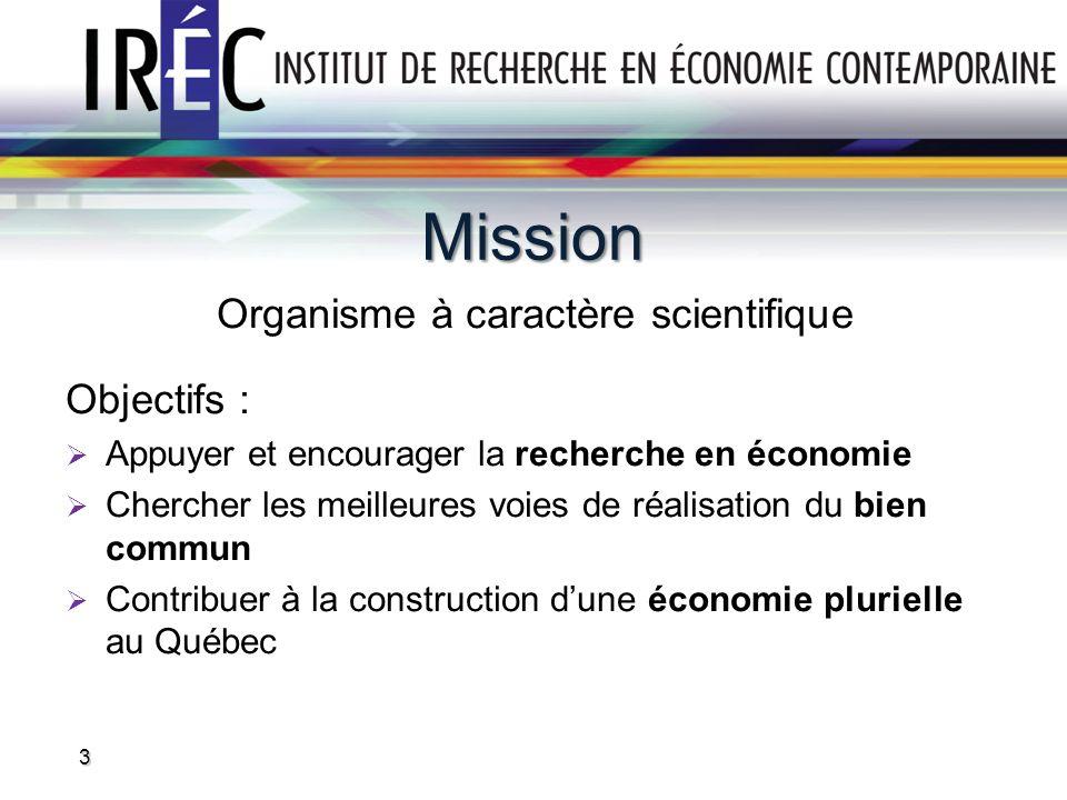 Structure de fonctionnement Fiducie sans but lucratif fondée en 1999 Financement de base provenant de trois sources : Contributions (CSN, FTQ, UPA, etc.) Propriété intellectuelle Indice Québec et indices territoriaux du Canada Mandats de recherche C.A.