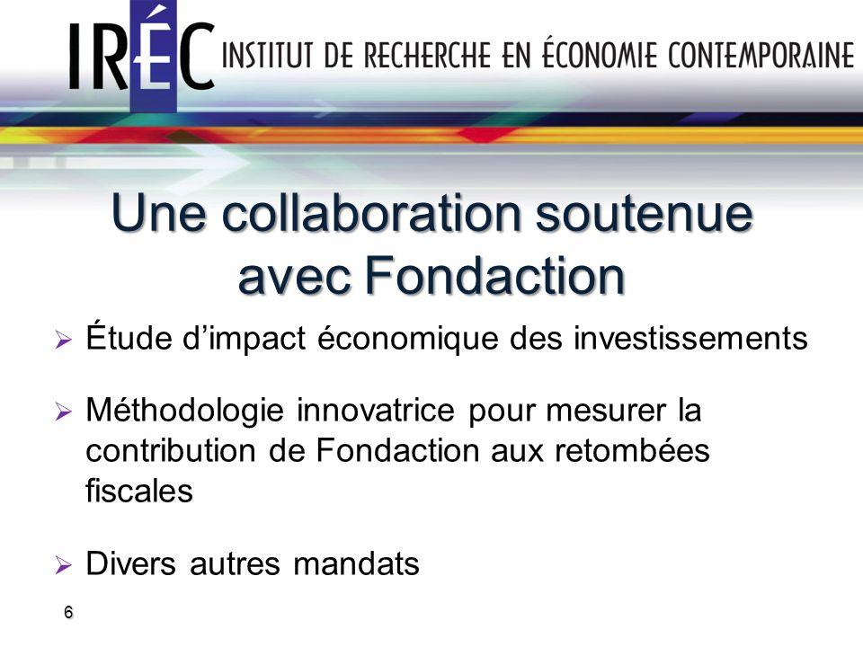 Une collaboration soutenue avec Fondaction Étude dimpact économique des investissements Méthodologie innovatrice pour mesurer la contribution de Fonda