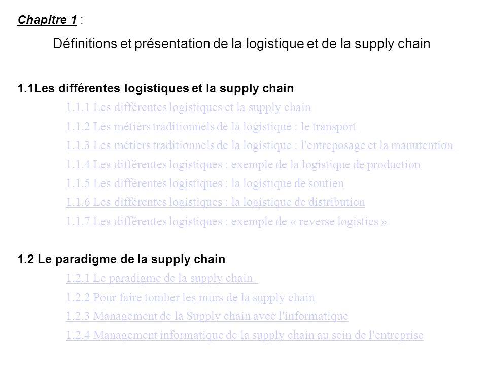 Chapitre 1 : Définitions et présentation de la logistique et de la supply chain 1.1Les différentes logistiques et la supply chain 1.1.1 Les différente