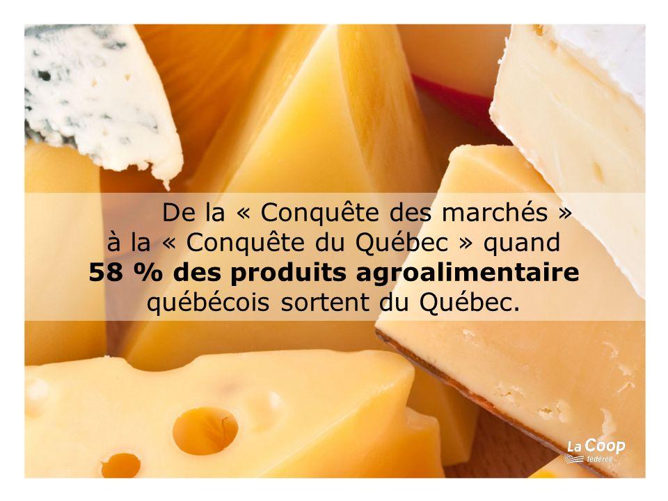 De la « Conquête des marchés » à la « Conquête du Québec » quand 58 % des produits agroalimentaire québécois sortent du Québec.