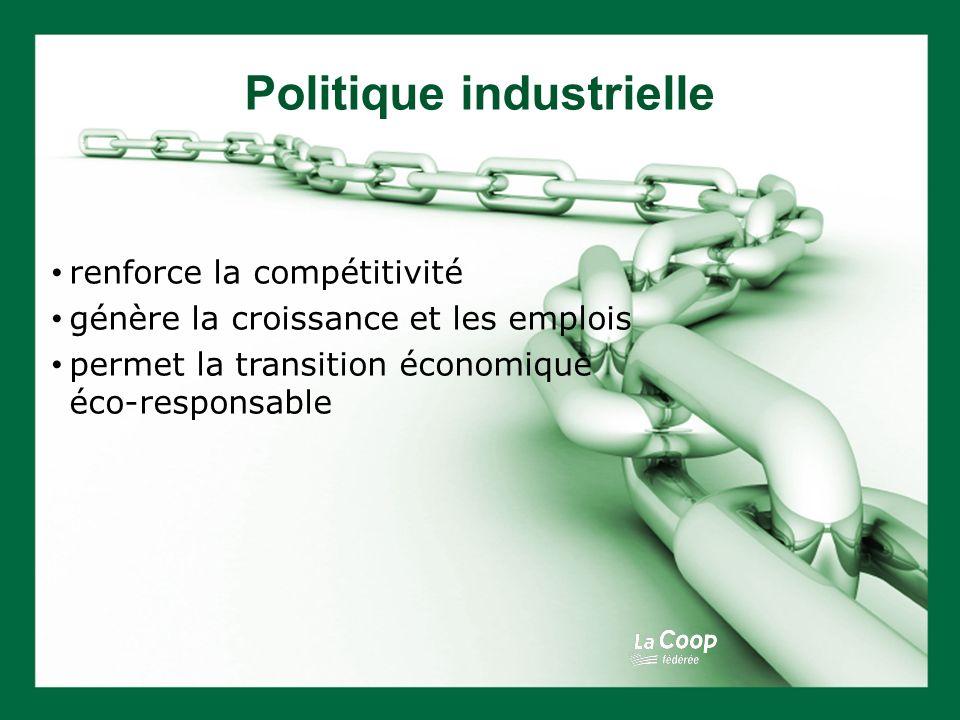 Politique industrielle renforce la compétitivité génère la croissance et les emplois permet la transition économique éco-responsable