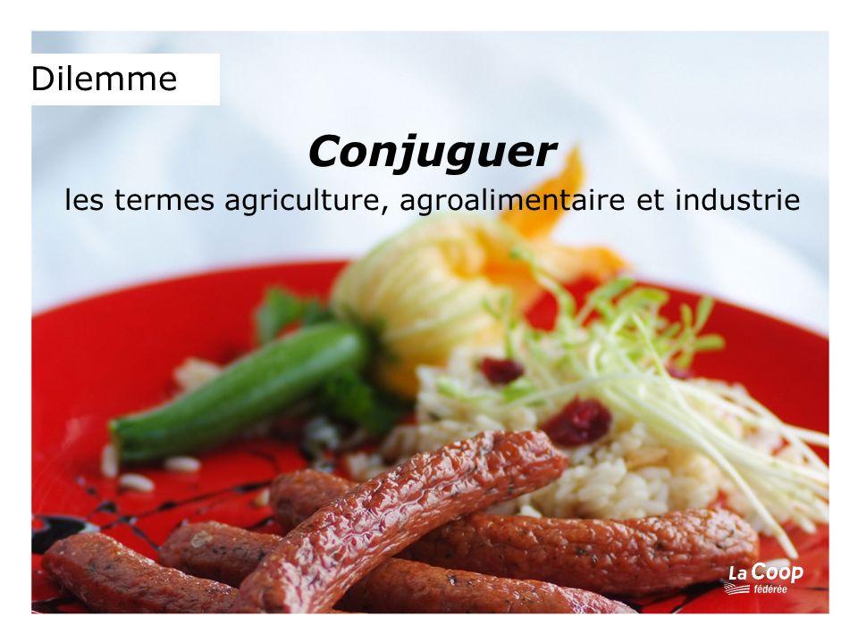 Dilemme Conjuguer les termes agriculture, agroalimentaire et industrie