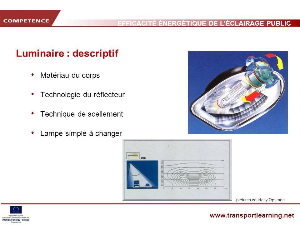 EFFICACITÉ ÉNERGÉTIQUE DE LÉCLAIRAGE PUBLIC ET INFRASTRUCTURE DES TRANSPORTS www.transportlearning.net Luminaire : descriptif Matériau du corps Techno