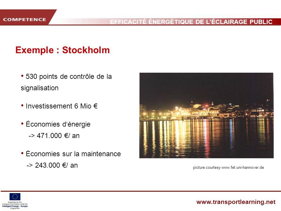 EFFICACITÉ ÉNERGÉTIQUE DE LÉCLAIRAGE PUBLIC ET INFRASTRUCTURE DES TRANSPORTS www.transportlearning.net Exemple : Stockholm 530 points de contrôle de l