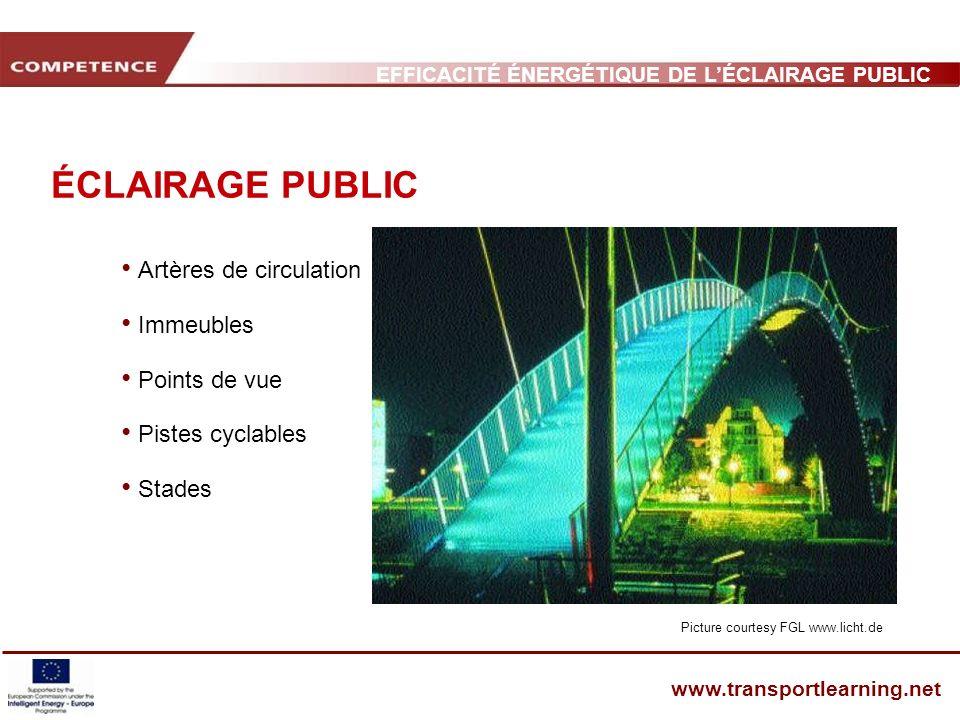 EFFICACITÉ ÉNERGÉTIQUE DE LÉCLAIRAGE PUBLIC ET INFRASTRUCTURE DES TRANSPORTS www.transportlearning.net ÉCLAIRAGE PUBLIC Artères de circulation Immeubl