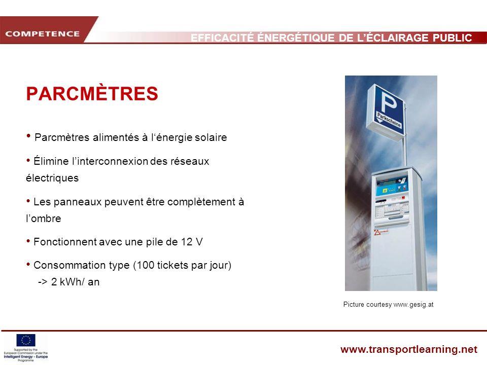 EFFICACITÉ ÉNERGÉTIQUE DE LÉCLAIRAGE PUBLIC ET INFRASTRUCTURE DES TRANSPORTS www.transportlearning.net PARCMÈTRES Parcmètres alimentés à lénergie sola