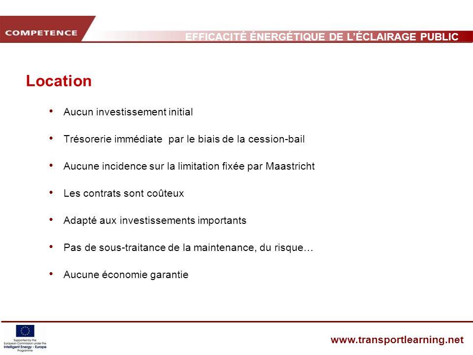 EFFICACITÉ ÉNERGÉTIQUE DE LÉCLAIRAGE PUBLIC ET INFRASTRUCTURE DES TRANSPORTS www.transportlearning.net Location Aucun investissement initial Trésoreri