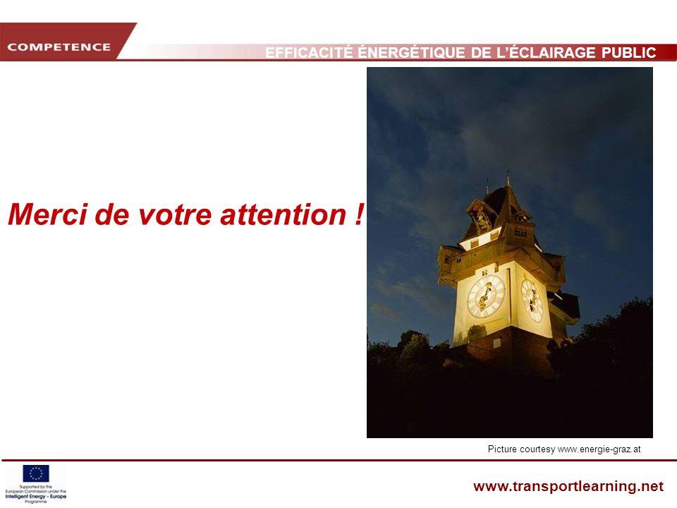 EFFICACITÉ ÉNERGÉTIQUE DE LÉCLAIRAGE PUBLIC ET INFRASTRUCTURE DES TRANSPORTS www.transportlearning.net Merci de votre attention ! Picture courtesy www