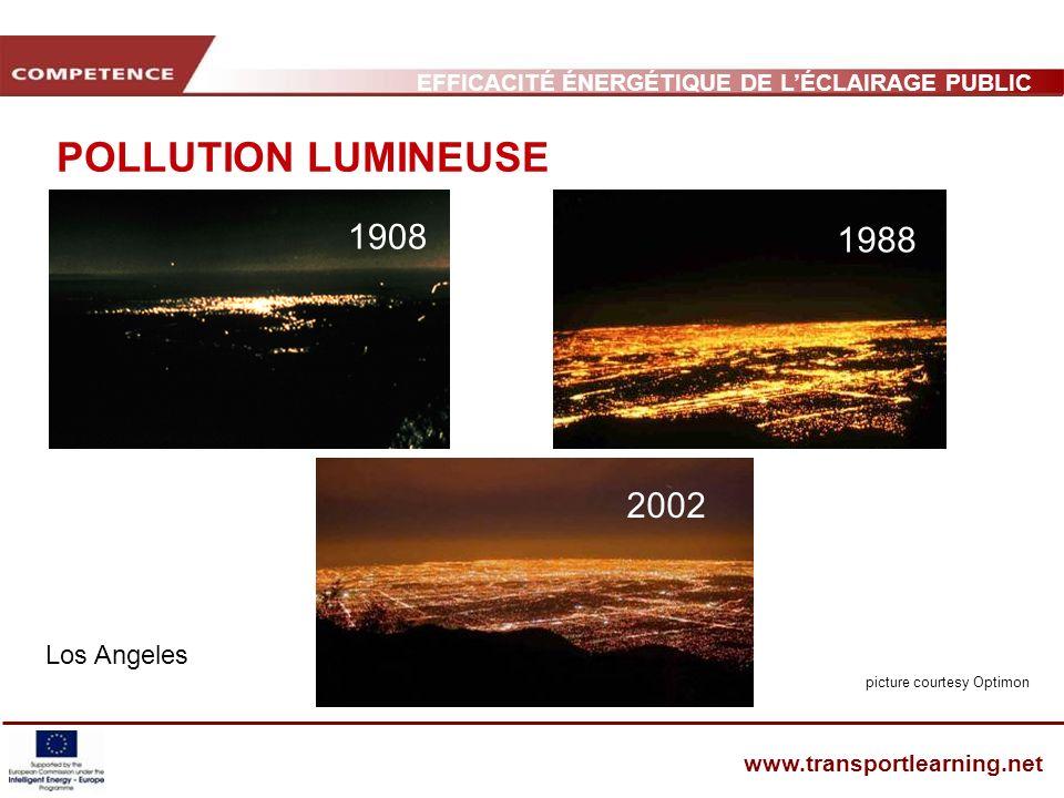 EFFICACITÉ ÉNERGÉTIQUE DE LÉCLAIRAGE PUBLIC ET INFRASTRUCTURE DES TRANSPORTS www.transportlearning.net POLLUTION LUMINEUSE Los Angeles 1908 1988 2002